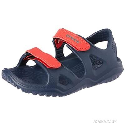 Crocs unisex-kids Swiftwater River Sandal Sandal Navy/Flame 12 M US Little Kid