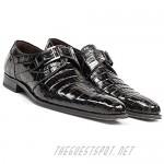 Mezlan Men's Dallas Black Genuine Crocodile Calfskin Exotic Slip-On Monk Straps Loafer Shoes 14436-F