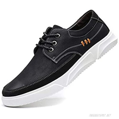 CMM Men Casual Shoes Sneakers Breathable Leather Walking Driving Shoes Fashion Lace-Up Oxfords for Men Work Outdoor