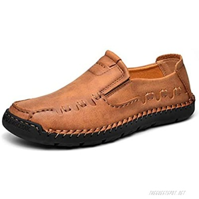 Men Casual Shoes Slip On Loafers Driving Flat Shoes Comfort Walking Sneakers Leather Shoes for Male Brown