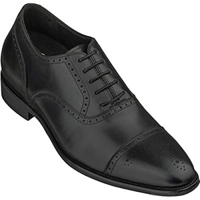 CALTO Men's Invisible Height Increasing Elevator Shoes - Black Premium Leather Lace-up Super Lightweight Formal Oxfords - 3 Inches Taller - S3033