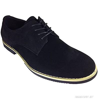 Men's Suede Dress Buck Oxfords Lace Up Shoes (dak01) (10 Black)