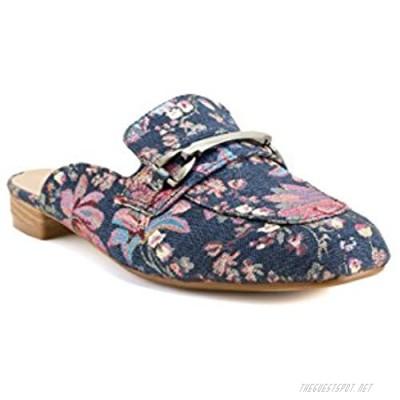 Avanti Razzle Womens Slip On Heeled Sandal with Flowers and Bar Ornament