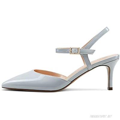 CASTAMERE Womens Slingback Kitten Heels Pumps Ankle Strap Strappy Pointy Toe 6.5CM Heel Sandals