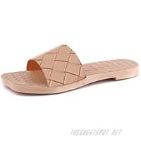 LACUONE Women's Square Open Toe Non-slip Flat Sandals Weave Comfort Slides Beach Shoes