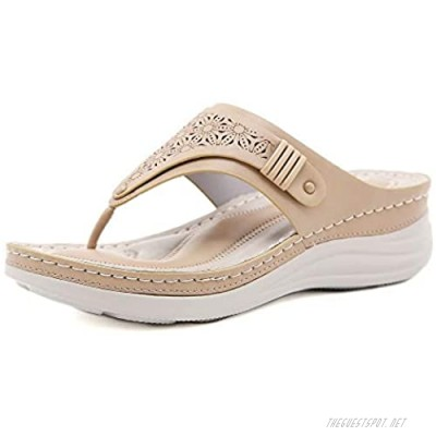 LRECHEU Women's Comfort Slides with Arch Support Comfort Thong Style Flip Flops Sandals