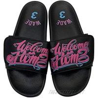 Men's Athletic Adjustable lovers Slide Sandals with Velcro Lightweight Comfort Slip On Sport Slippers