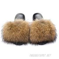Womens Real Raccon Fur Slides Summer Fur Slippers Open Toe Single Strap Slip On Sandals Flats