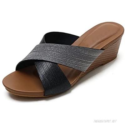 Womens Wedge Sandals Slip on Mid Heel Roman Breathable Casual Summer Beach Walking Slide Sandals