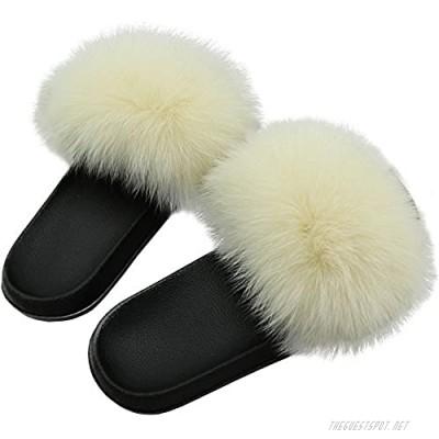 Yu He Women Real Fox Fur Feather Vegan Leather Open Toe Single Strap Slip On Sandals