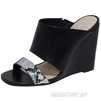 """ANDREW STEVENS Geneva Leather Wedge Slide Sandals for Women   High Heel Slip-on Shoes with Open-Toe Padded Insole and Wide Width Black Tan/Brown 4.5"""" Heel"""