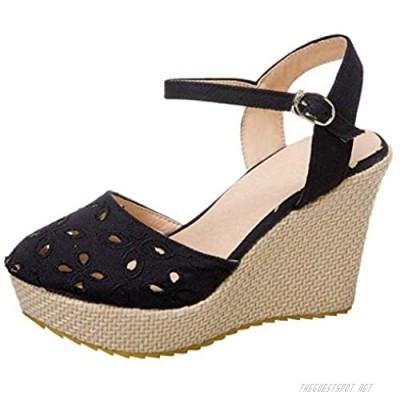 KIKIVIVI Womens Platform Wedge Heel Cutout Ankle Strap Sandals