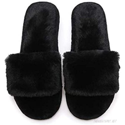 FIZILI Women's Slippers Fuzzy Cozy Furry - Fluffy Memory Foam Cute Open Toe Soft Plush for House Indoor Outdoor Slippers for Women