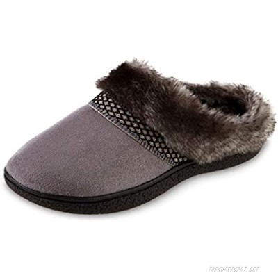 isotoner Women's Recycled Microsuede Mallory Hoodback Slipper Ash 8.5-9