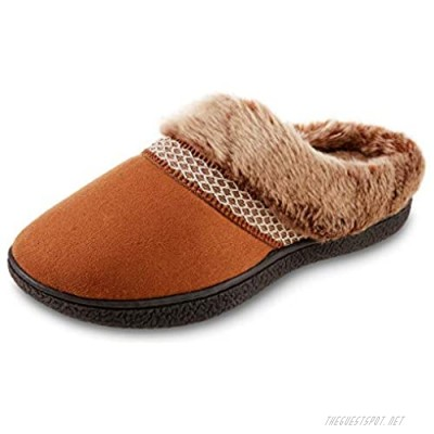 isotoner Women's Recycled Microsuede Mallory Hoodback Slipper Cognac 7.5-8
