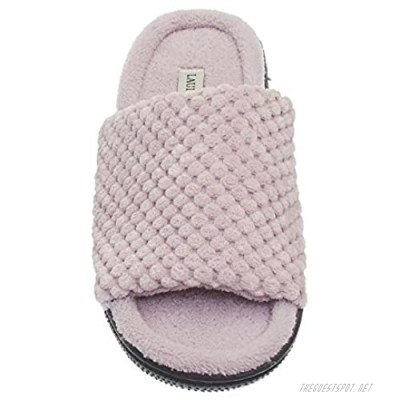 Laura Ashley Womens Ladies Luxury Spa Rugged Memory Foam Open Toe Slippers (See More Colors and Sizes)