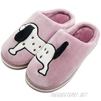 Sanfiago Women Fuzzy Memory Foam Home Slippers Cozy Slip on Cute Dog Animal House Shoes Indoor Outdoor