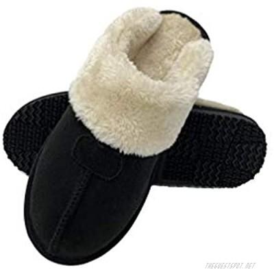 Women's Comfy Faux Fur House Slipper Scuff Memory Foam Slip on Anti-skid Sole Indoor Outdoor Slippers