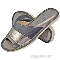 Women's Genuine Leather House Indoor Slippers Ladies Slides