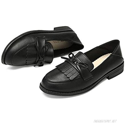 ZHUOHA Women's Black Loafers Fashion Leather Penny Flats Shoes for Women Cute Bowknot Slip on Comfortable Nurse Work