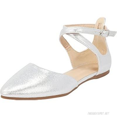 Cambridge Select Women's Closed Pointed Toe D'Orsay Crisscross Strap Ballet Flat