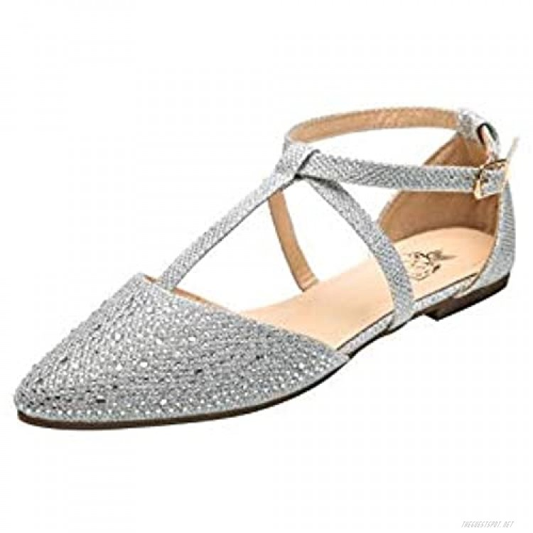 Ashley A Collection(Laurel Womens Pointed Toe Ankle Wrap T-Strap D'Orsay