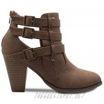 OLIVIA K Women's Classic Stacked Wood heel with Side Zipper Enclosure - Adjustable Ankle Straps with Buckle