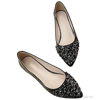 SAILING LU Womens Pointy Toe Shoes Crystals Wedding Shoes Ballet Flats Classic Loafers Flat Shoes for Work Slip On Moccasins Black Size 10