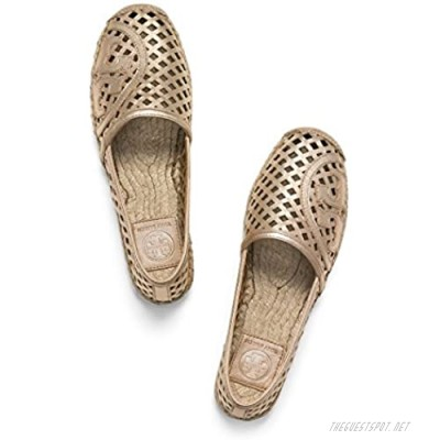 Tory Burch Thatched Perforated Espadrille Flat Ballet Shoes TB Logo