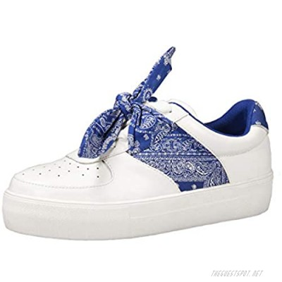 PARTY Women's Street Fashion Sneakers Classic Bandana Bow-Knots Casual Sneakers (Paisley Black/Blue/Red)