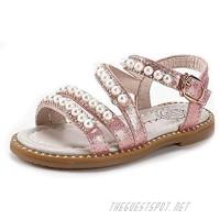 KIDSUN Girls Flats Sandals Flower Summer Shoes Open Toe Ankle Strap Pearl Sandals for Kids (Toddler/Little Kid)