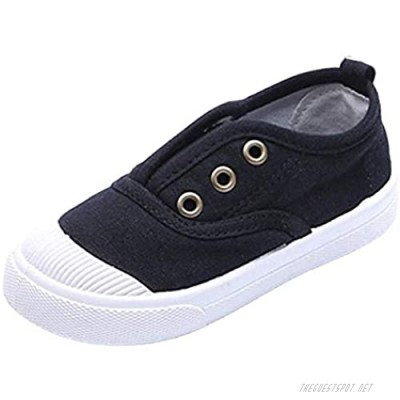 WUIWUIYU Toddlers Little Boys Girls No-Tie Slip-on Washable Causal Canvas Deck Boat Shoes Plimsolls