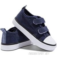 Obtaom Velvet Fabric Shoes for Toddler Velcro Slip On Adjustable Strap Sneakers Little Kid Boys and Girls Canvas Sneakers