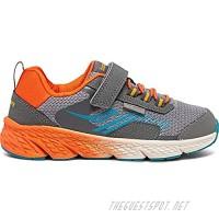 Saucony unisex child Wind Shield Alternative Closure Sneaker Grey/Orange/Blue 2 Wide Big Kid US