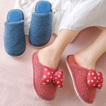 Kids Slippers Cute Bow Dot Indoor Shoes for Toddler Girls Boys Home Slippers Non Slip Winter Warm Soft Coral Velvet House Slippers