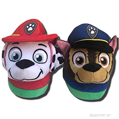 Paw Patrol Boys Little Kids Slippers with Chase and Marshall