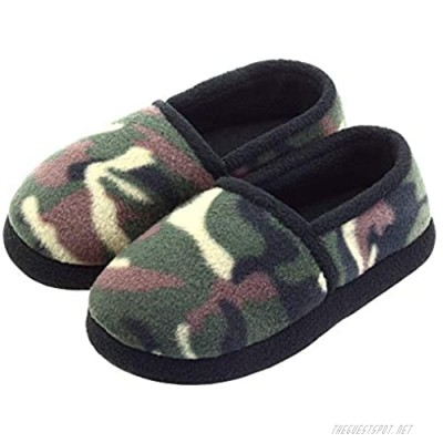 VLLY Slippers for Boys Camo House Warm Comfy Slip-on House Shoes with Memory Foam & Hard Sole